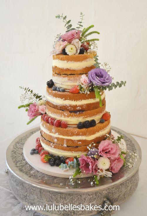 3 Tier Naked Wedding Cake With Fresh Fruit And Flowers - Fresh Fruit Wedding Cake