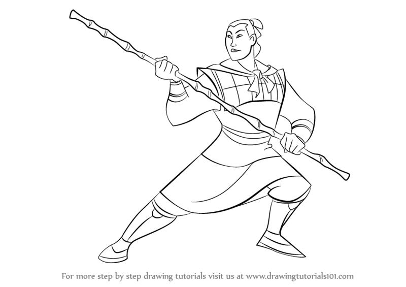 Learn How to Draw Li Shang from Mulan (Mulan) Step by Step : Drawing ...