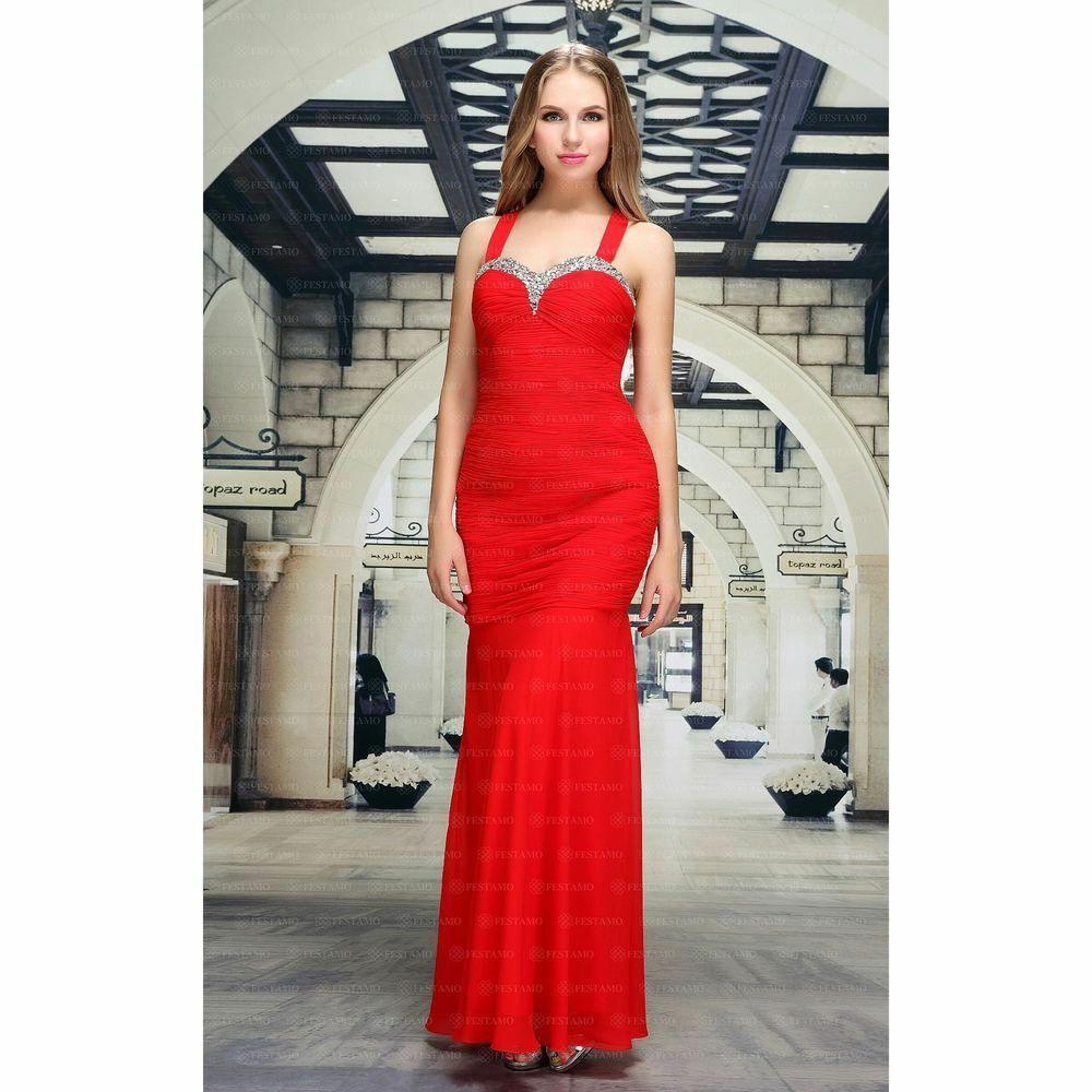 a848e00a7a2 Kleid WOW Festamo Chiffonkleid Cocktailkleid Ballkleid Maxikleid 83048 Rot  42  fashion  kleidung  accessoires
