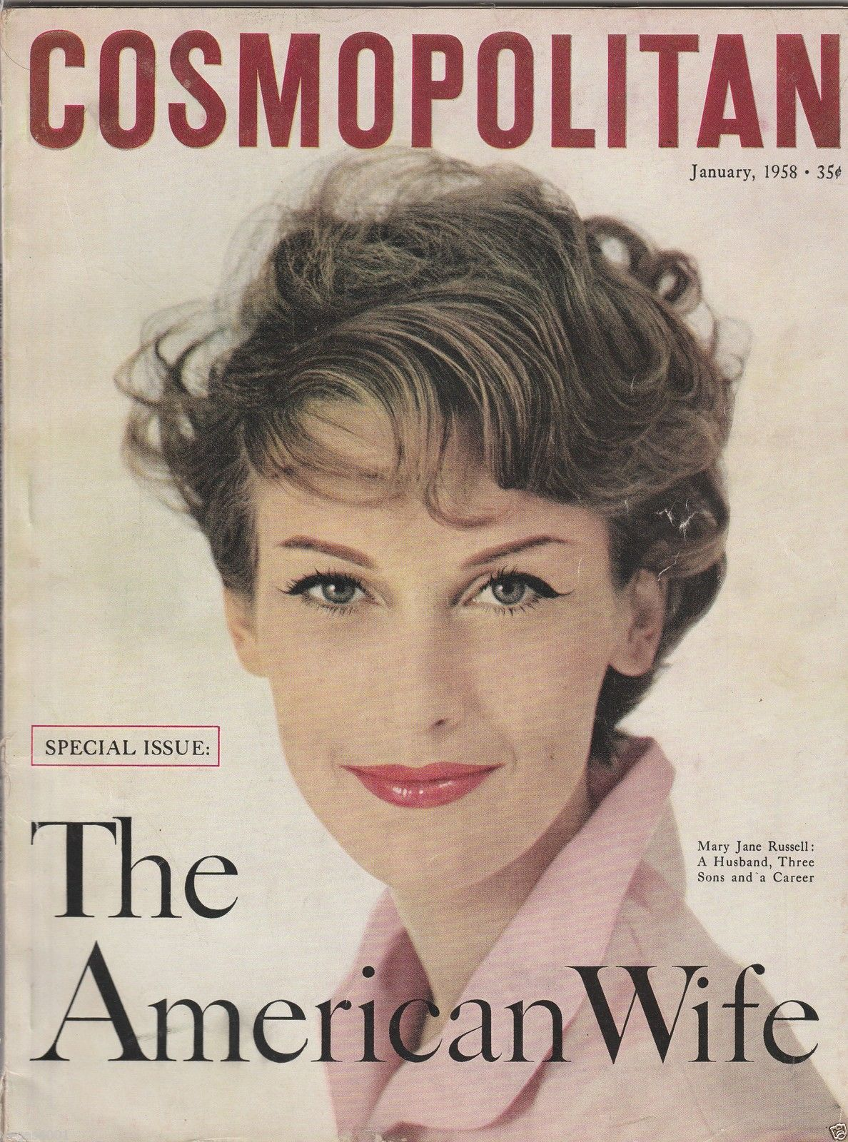 Cosmopolitan magazine, JANUARY 1958 Mary Jane Russell on cover