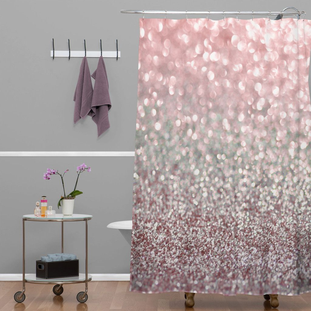 Lisa argyropoulos girly pink snowfall shower curtain for Pink and brown bathroom ideas