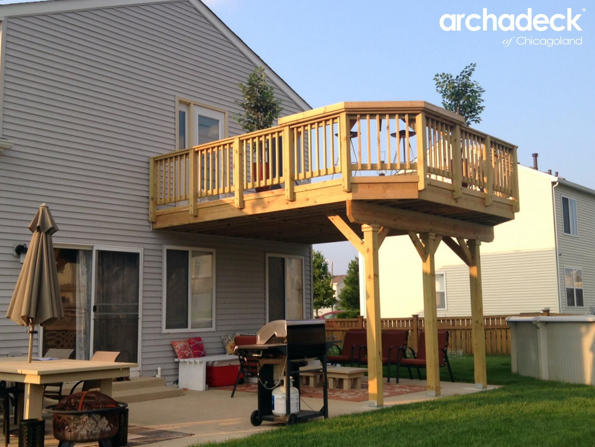 Attractive Wood Deck Over Patio By Aurora IL Deck Builder Archadeck Of Chicagoland