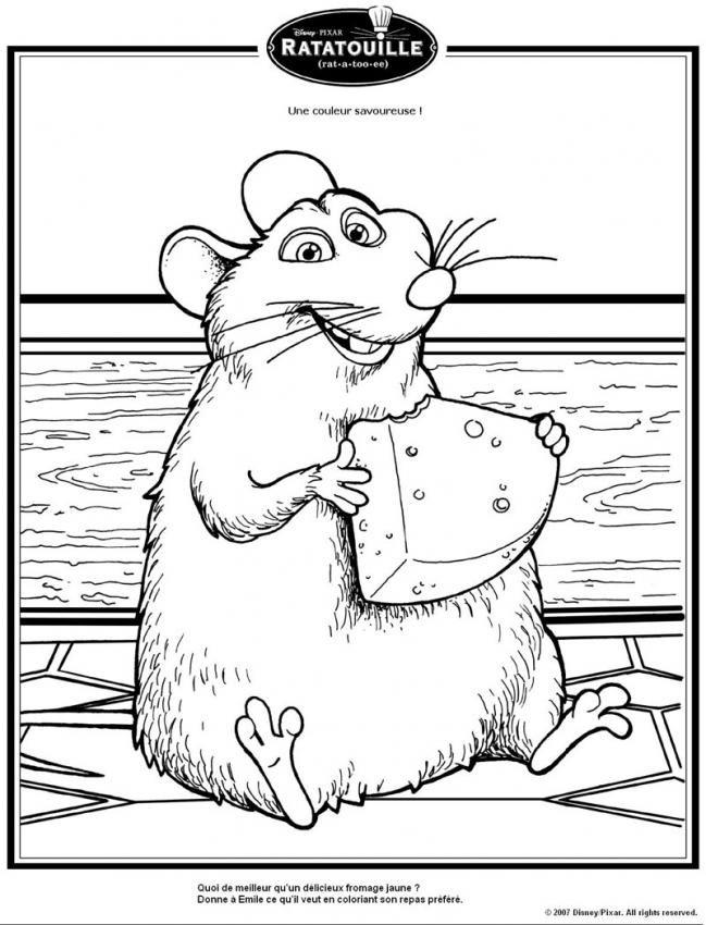 Un joli coloriage de ratatouille viens colorier le gros - Dessin d un rat ...