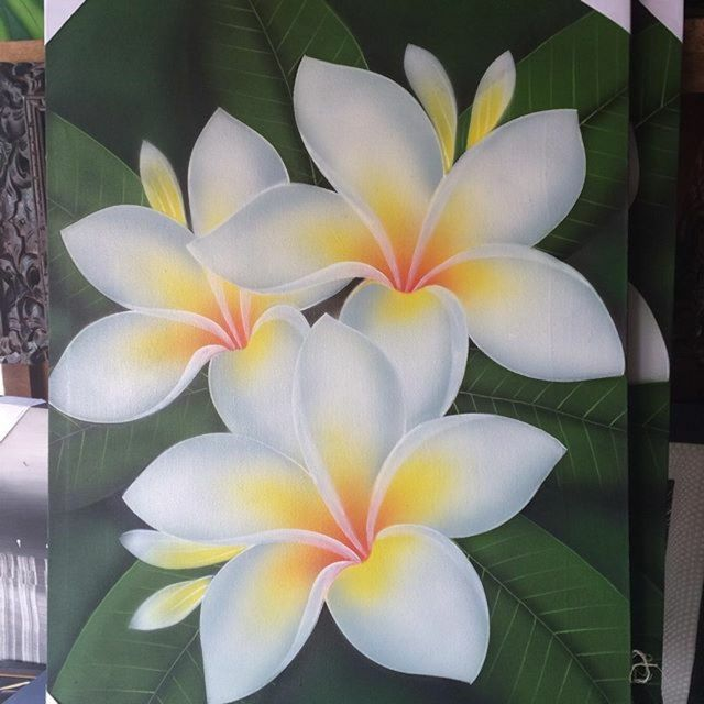 Check Out Bali White Frangipani Acrylic Painting For Rm 90 00 Get It On Shopee Now Http Shopee Acrylic Painting Flowers Floral Painting Flower Art Painting