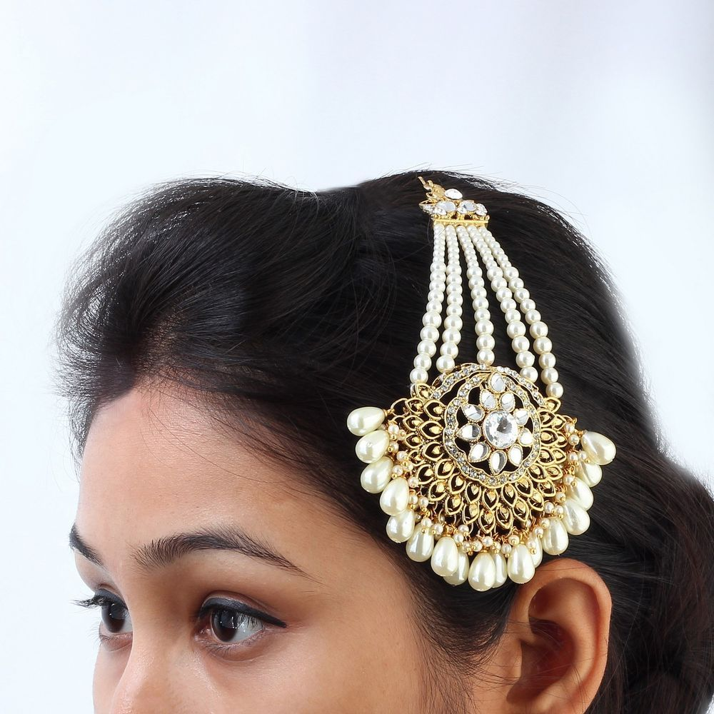 Indian Gold Plated AD CZ Pearl Traditional Bollywood Ethnic Jewelry Khopa Jhapta #DesaiJewellers #HairChain