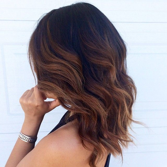 This Color And Cut Are Everything Dark Chocolate Balayage Beauty