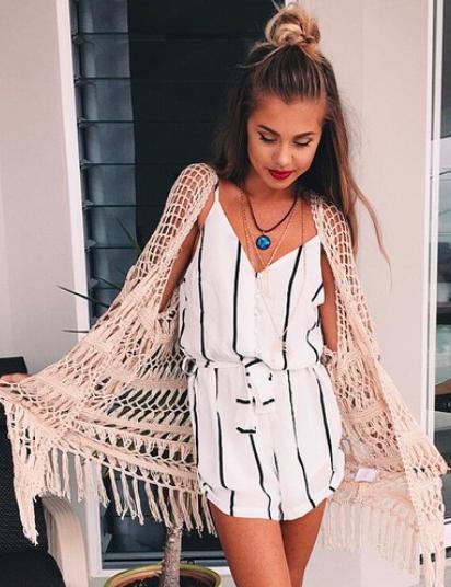 34d154e8104d Boho Street Style Inspiration  Striped Romper + Crochet Jacket Summer Look   johnnywas
