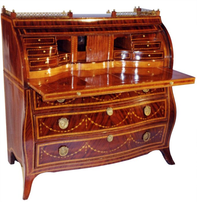 Antique Biedermeier ~ Dutch-neoclassical, mahogany desk with Bombe-body in the Rococo tradition.