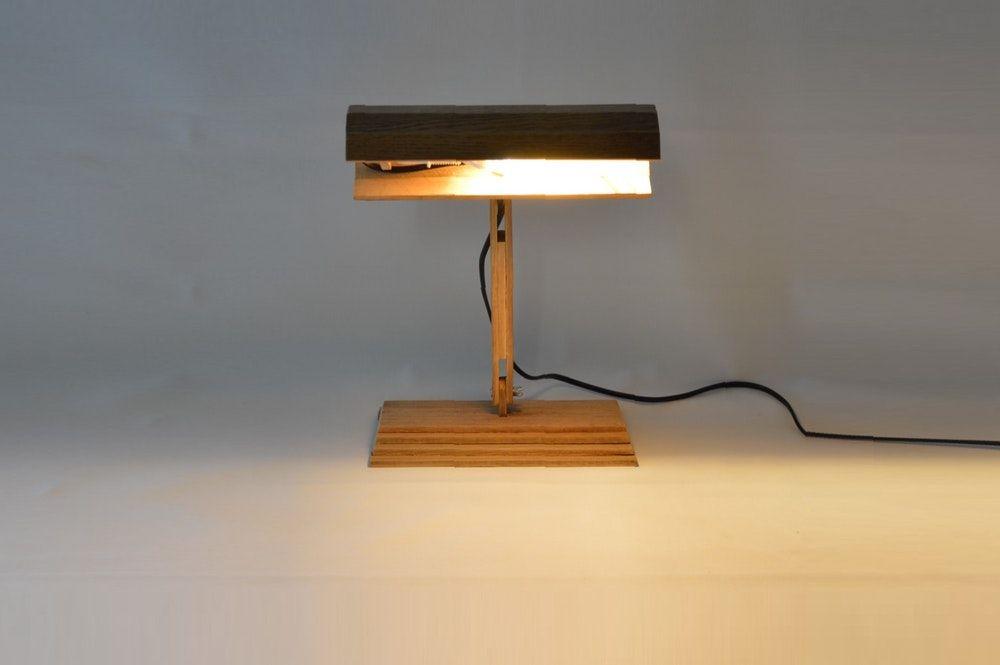 Lampe de piano vintage en bois recyclé en bois bois de chêne