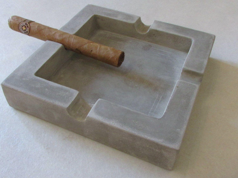 Sq Concrete Cigar Ash Tray Ashtray Vintage Ashtray Handmade