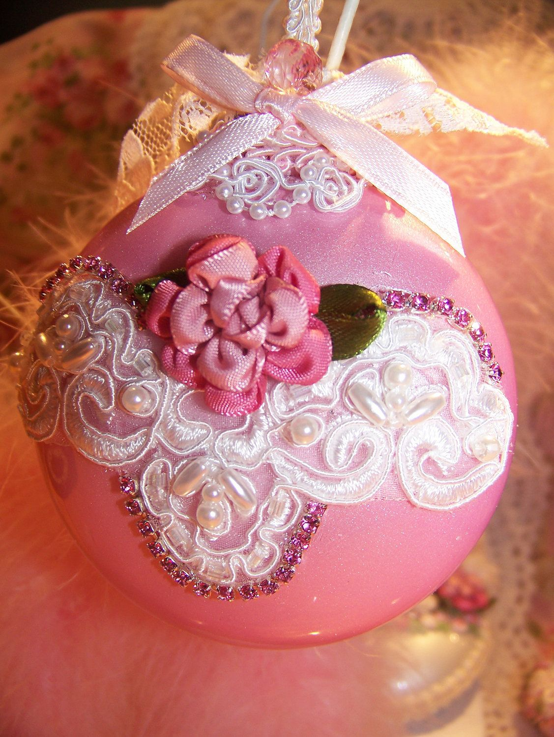 Rose christmas ornament - Shabby Chic Christmas Ornament Pink Pearl Bridal Lace Cabbage Rose Rhinestones