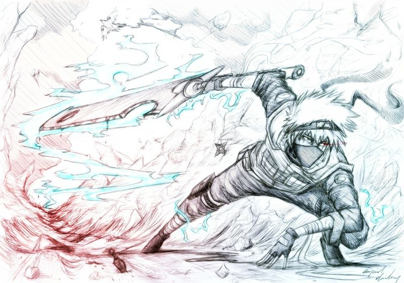 Destruction sketches naruto shippuden kunai manga lightning kakashi hatake swords 2728x1916 wall wallpaper