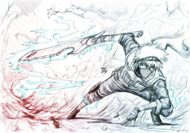 Destruction sketches naruto shippuden kunai manga lightning kakashi hatake swords 2728x1916 wall wallpaper