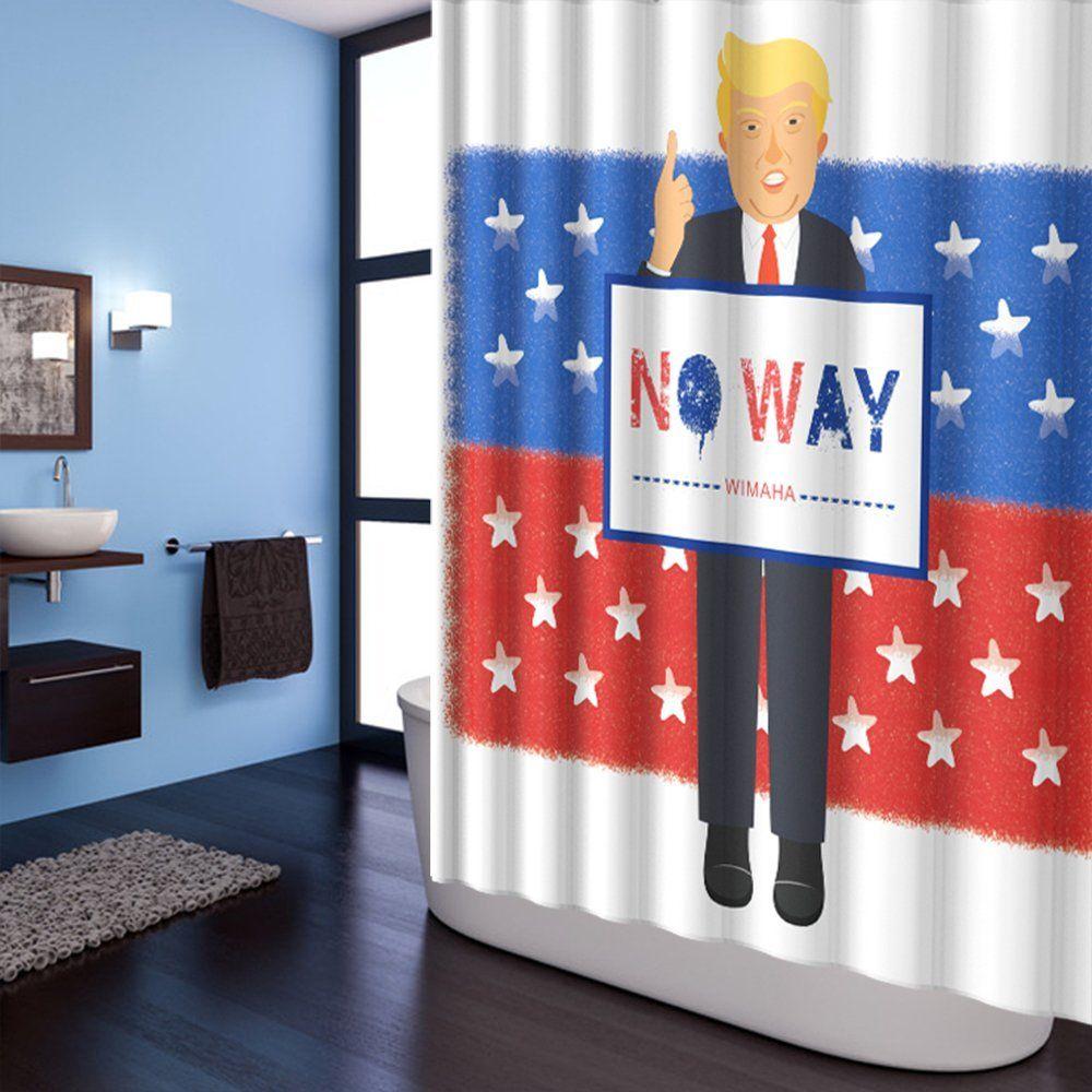 Wimaha Mischievous Donald John Trump Shower Curtain American Flag