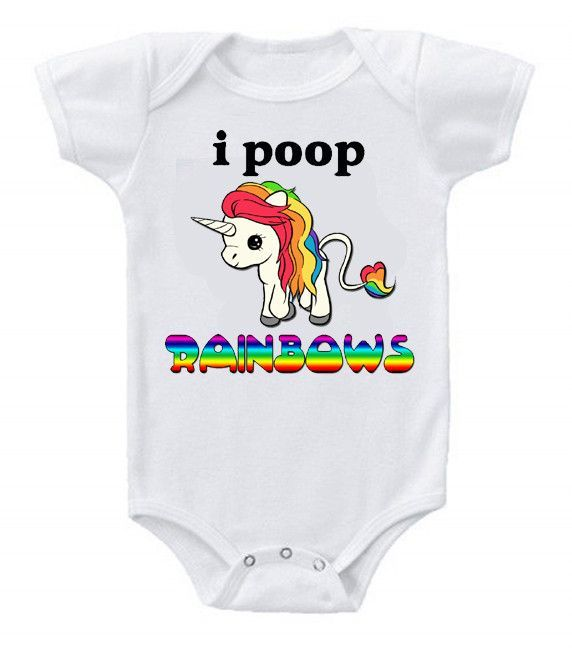 Funny Humor Custom Baby One-Piece Bodysuits Creeper Unicorn I Poop Rainbows