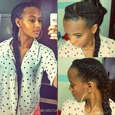 Natural Hair Style Goddess Braids With ExtensionsI Also Like Her Blouse Alot