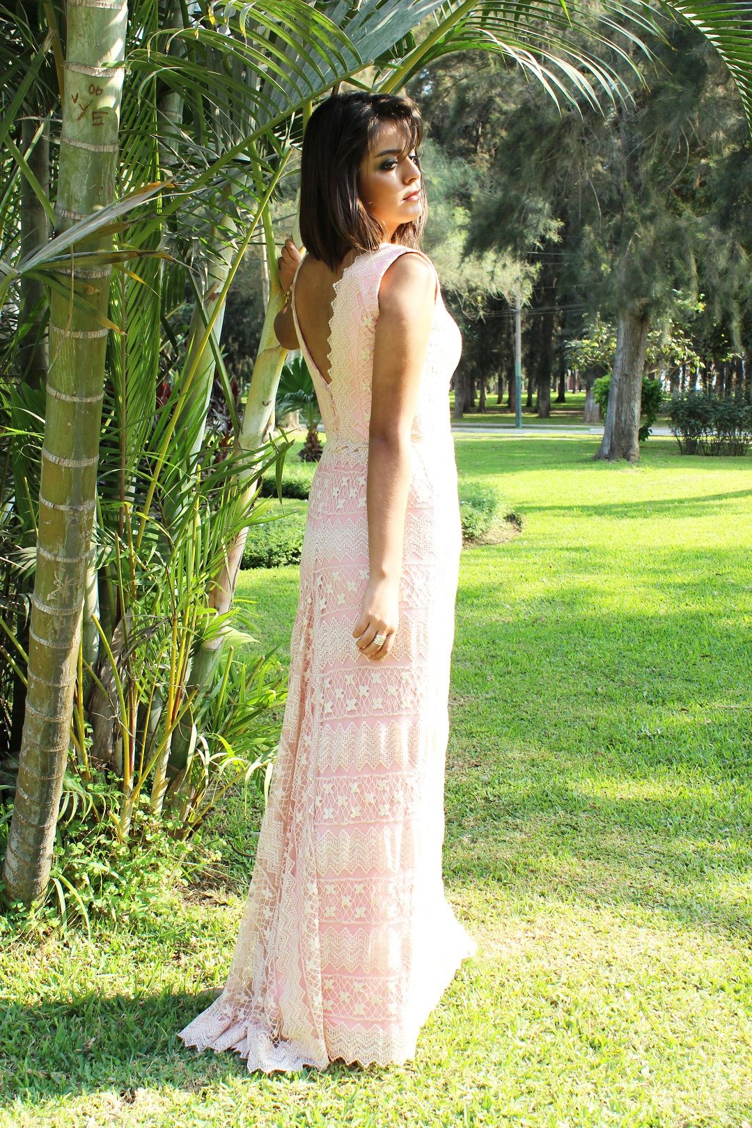 Vestido de muselina escote V Brunella Teja - Sukisimo