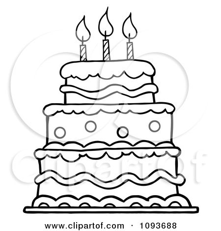Pictures Of Birthday Cakes Drawings : Clipart Outlined Layered Birthday Cake With Three Candles ...