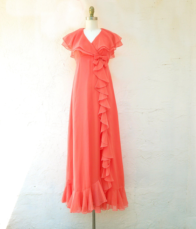 70s Evening Dress 1970s Prom Dress Peach Silk Chiffon Dress Etsy Silk Chiffon Dress Chiffon Dress Dresses [ 3000 x 2571 Pixel ]