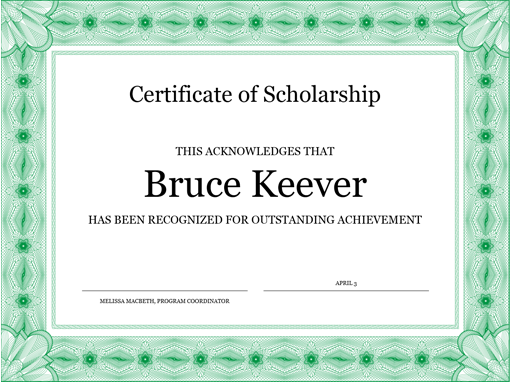 Certificate of scholarship formal green border franaises employee of the month certificate template certificate for employee of the month blue chain design office yadclub Gallery