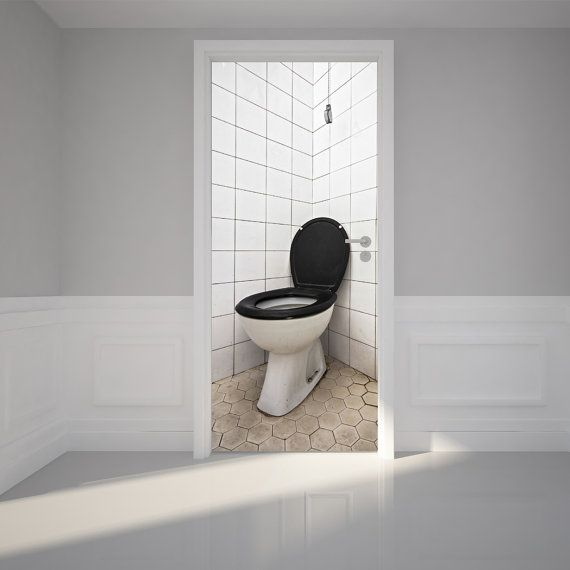 Door Wall Sticker Toilet in a bathroom Peel Stick Repositionable