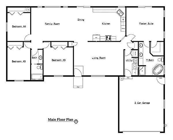 Rambler Open Floor Plans: 4 Bedroom Rambler Floor Plans