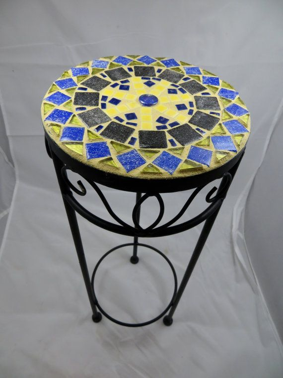 Mosaic Side Table Or Plant Stand By Careware On Etsy Mosaic