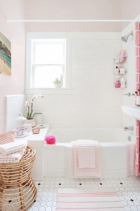 Pink Girly Bathroom Design, Transitional, Bathroom