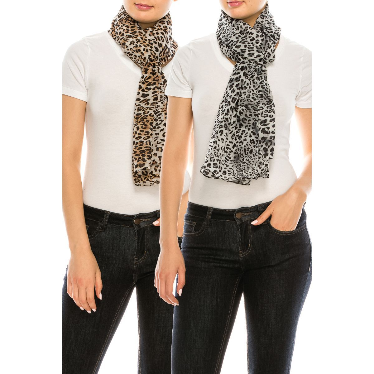 Leopard Pattern Poly Thin Scarf - Fashion Fantasia