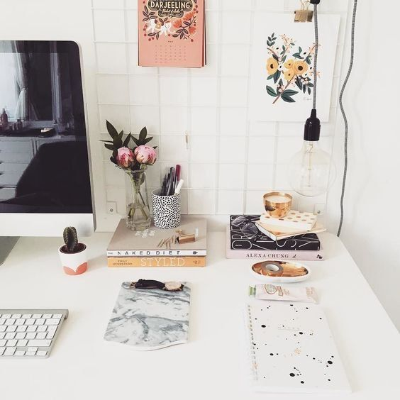 Cute Desk Decor! Love The Color Scheme And Floral Prints