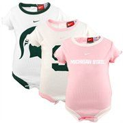 Nike Michigan State Spartans Infant Girls Pink-White 3-Pack Creeper Set