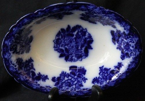 L313 ENGLISH VICTORIAN NEW WHARF POTTERY FLOW BLUE FLORAL OVAL SERVING BOWL