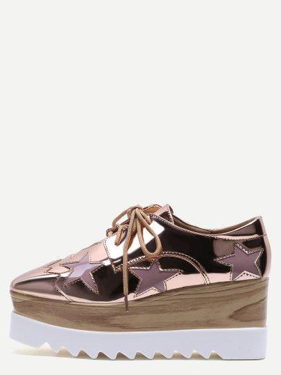 eb5ca0ef Zapatos de charol con estrellas y plataforma - dorado rosa ...