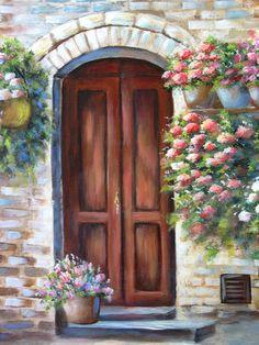 PUERTA de Toscana una pintura original acrílica