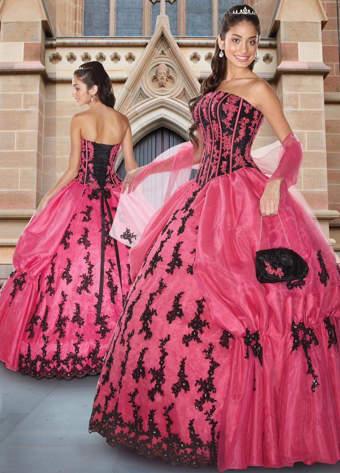 Stylistic Ball Gown Quinceanera Dress Chorusing Pink and Black ...