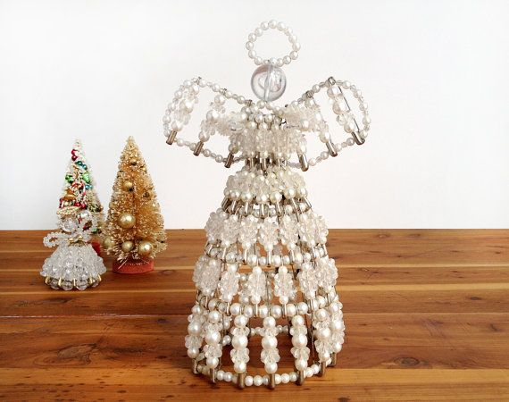 """Safety Pin Beaded Angels Christmas Ornaments Doll Handmade 4/"""""""