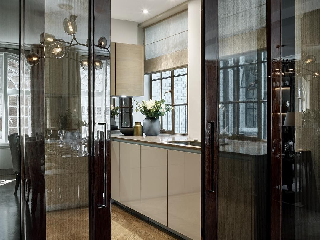 View Looking Through The Bespoke Sliding Doors Into The Kitchen At