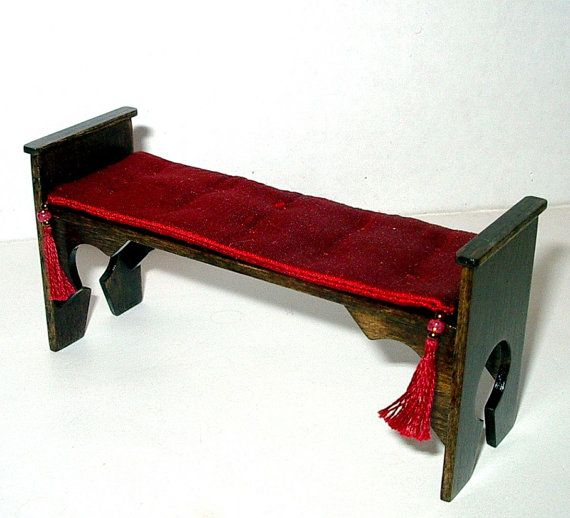 Medieval Bench Red Silk Seat Cushion Gothic Dollhouse