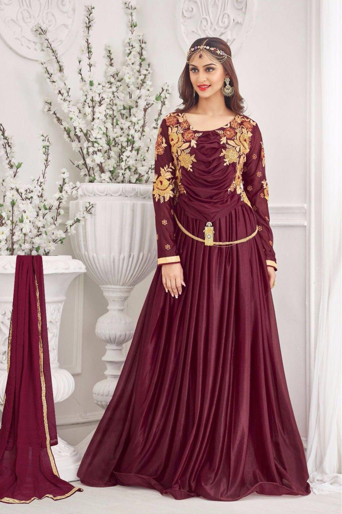 Maroon Colour Korean Lycra Fabric Designer Semi Stitched Gown