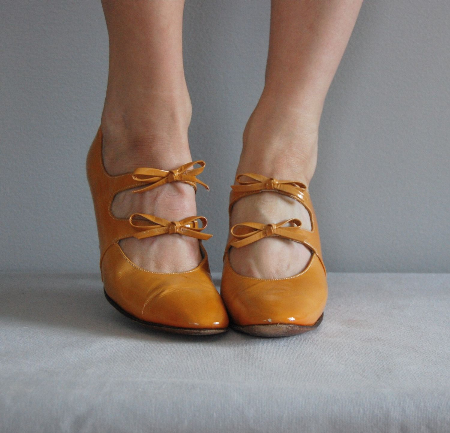bow heels mustard - Google Search
