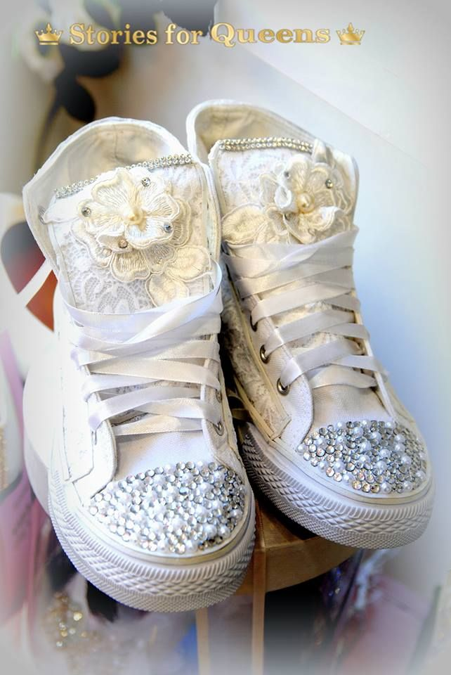Handmade Bridal All Star Shoes Decorated With Lace Strass And Saten Laces