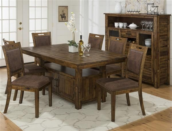 Cannon Valley Contemporary Solid Wood Storage Base Dining Room Set