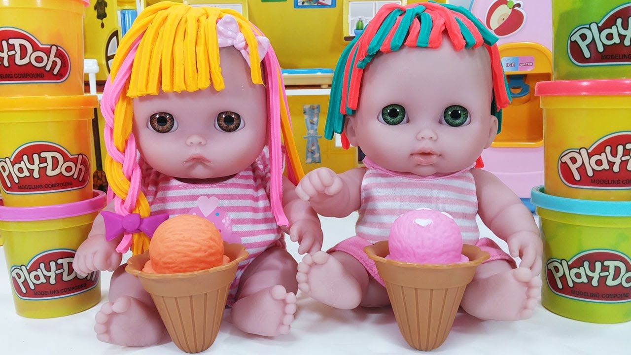Twin Babies Baby Doll Play Doh Hair Cut Toys