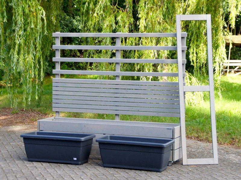 Pflanzkasten Holz Lang L mit Sichtschutz / Rankgitter