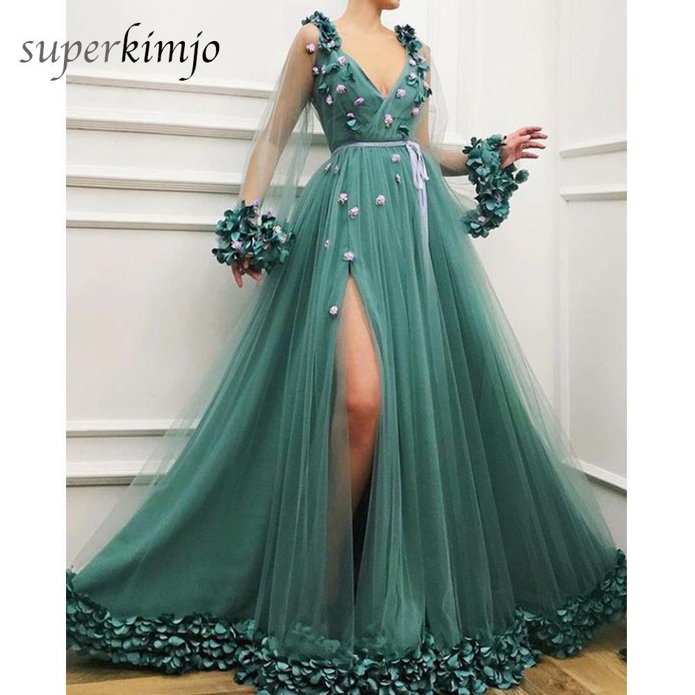 a32e8e782 2019 arabic prom dresses v neck side slit a line long sleeve green ...