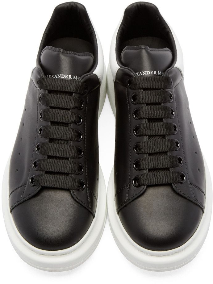 Alexander McQueen Black & White Leather Low-Top Sneakers