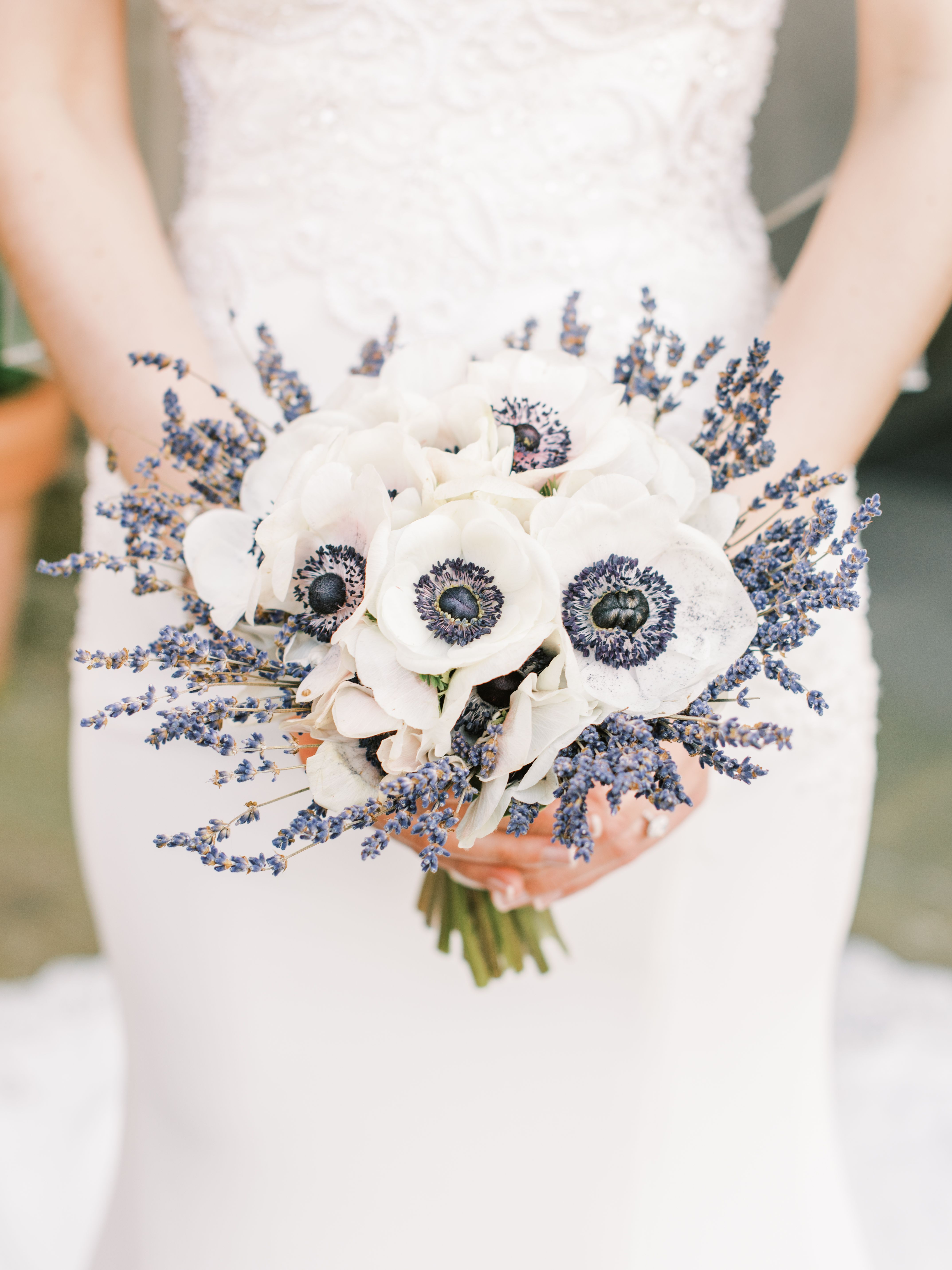 Lavender Inspired Bouquet and White Anemone Flower with