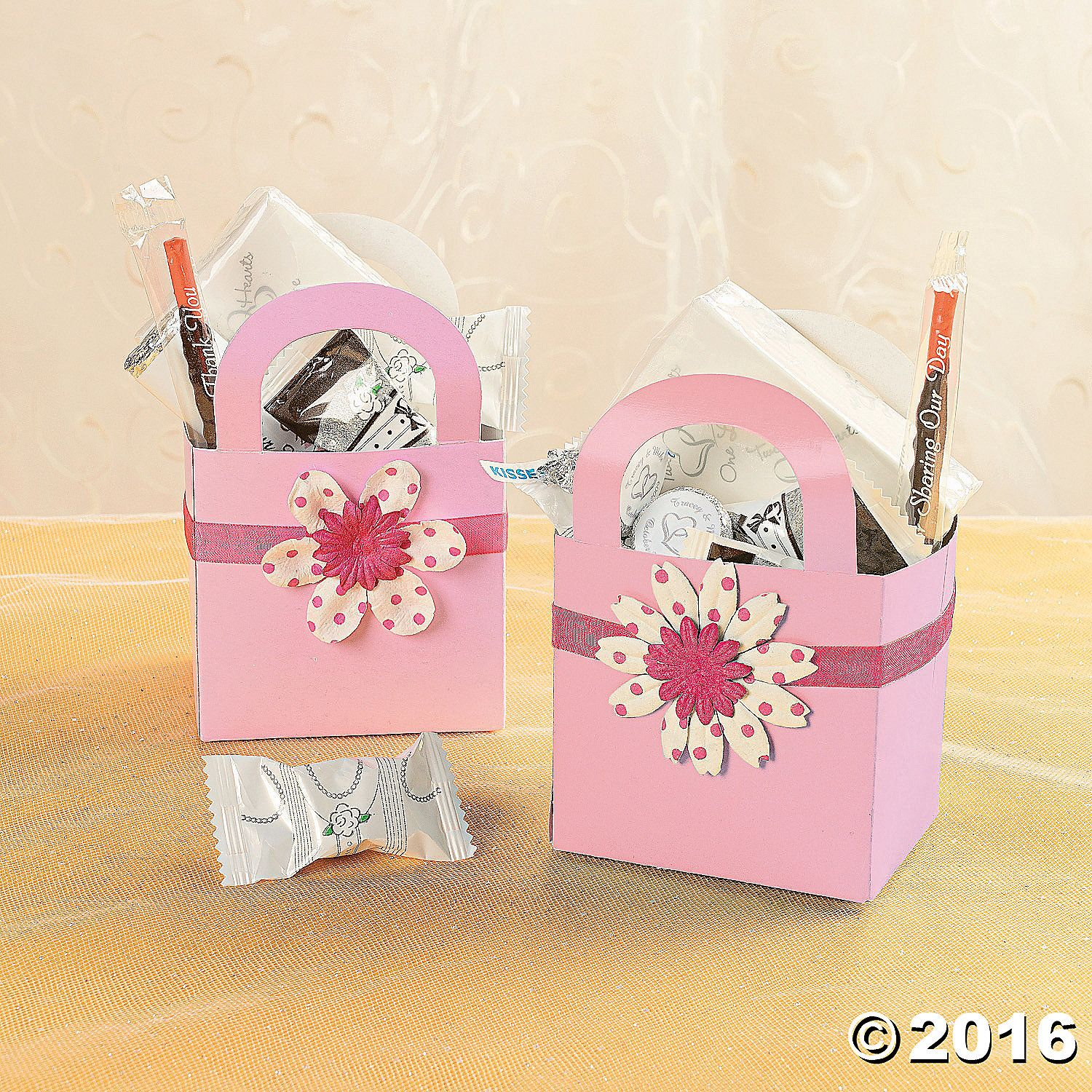 Basket Favor with Ribbon and Flower Idea - OrientalTrading.com ...