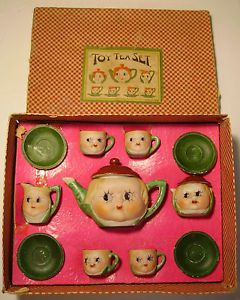 Details about VINTAGE PORCELAIN Childs TEA SET, Gnomes, Wizard, and Children Playing #teasets