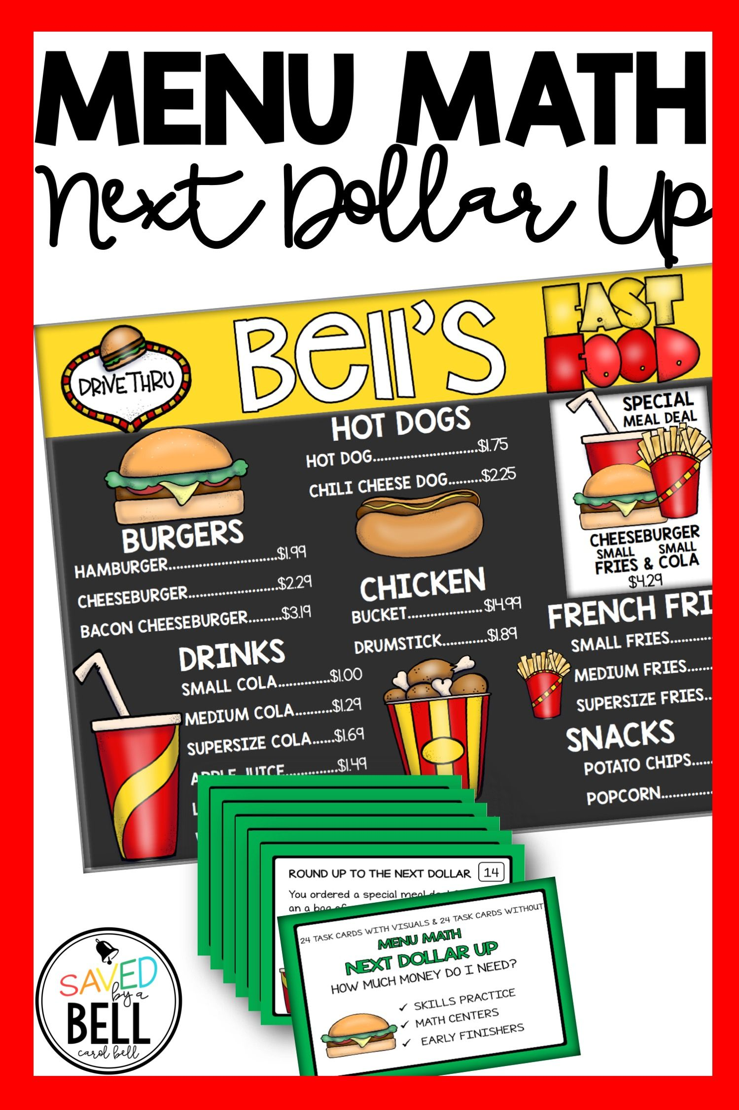 Real World Next Dollar Up Task Cards Students Use A Fast Food Menu With Awesome Pictures To Find Prices And Add To Fast Food Menu Menu Restaurant Menu Maker [ 2249 x 1499 Pixel ]
